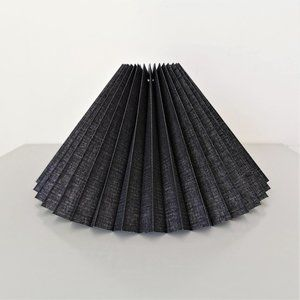 Black Linen Knife Pleated Lampshade Danish Design